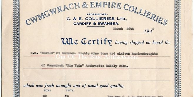 Cwmgwrach & Empire Collieries – Shipping Invoice