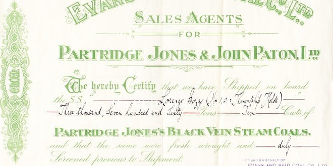 Evans and Reid Coal Co Ltd, Agents For Partridge Jones and John Paton Ltd – Shipping Invoice