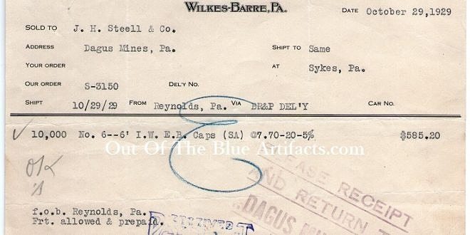 The Peerless Explosives Company – Invoice