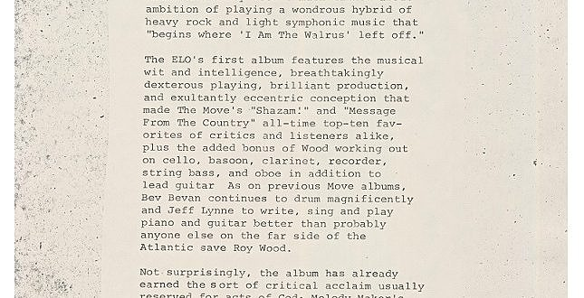 "Electric Light Orchestra Bio 1972 – From The ""No Answer"" Promo LP USA"