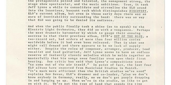 Electric Light Orchestra Bio 1979