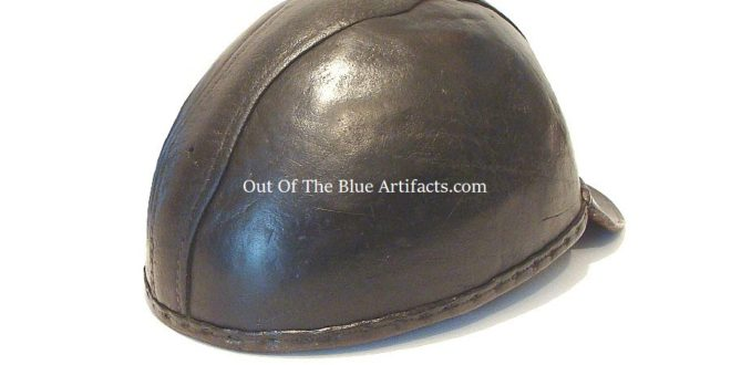 A vintage Thick Leather UK Miners Skull Cap