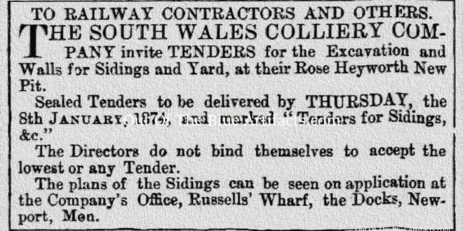 Rose Heyworth Colliery Tender for Sidings and Out-Buildings 1874