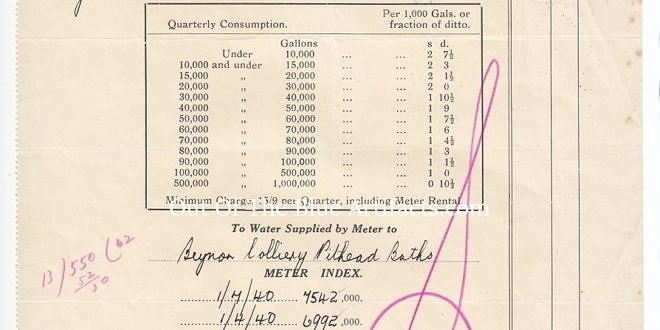 Blaina Council Offices, Blaina Monmouthshire, Water Bill – Beynon's Colliery