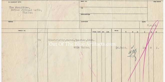 Richard Thomas & Co Limited – Electricity Bill for Beynons Colliery 1939