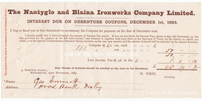 The Nantyglo and Blaina Ironworks Company Limited – Interest Receipt on a Debenture Coupon 1883