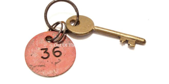 A Brass Baths Locker Key & Plastic Man-Power Board Tag