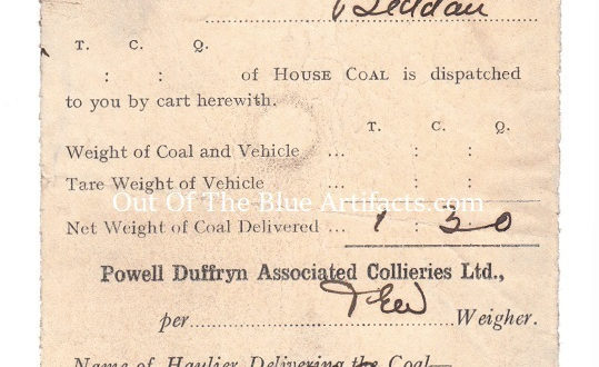 Powell Duffryn Associated Collieries Ltd – Coal Consignment Note