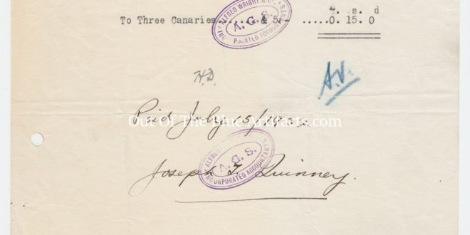 New Stubbin Colliery – Invoice for 3 Canaries