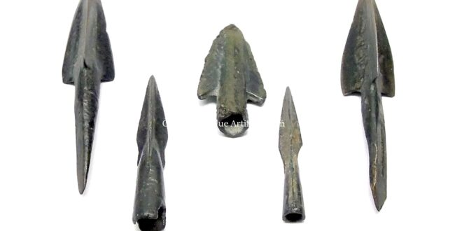 Bronze Tri-Blade and Flat Blade Arrowheads