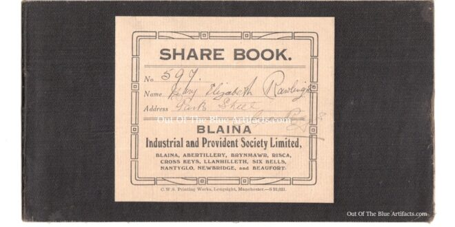 Blaina Industrial and Provident Society Limited, Share, Capital Interest, Dividend and Withdrawals Account Book 1920